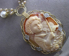 ANTIQUE MASSIVE .30CT DIAMOND & PEARL 14KT TWO TONE GOLD ANGEL CAMEO NECKLACE