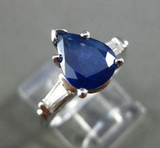 ESTATE 2.20CT DIAMOND & SAPPHIRE 14KT WHITE GOLD CLASSIC ENGAGEMENT RING #20031