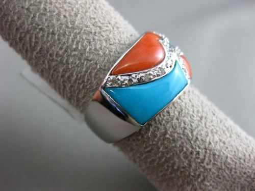 ESTATE WIDE 3.49CT DIAMOND & AAA CORAL & AAA TURQUOISE 14K WHITE GOLD HEART RING