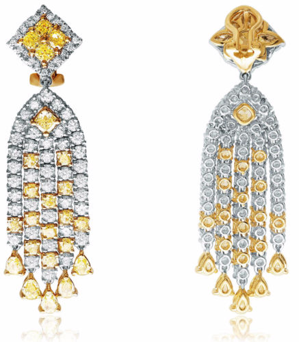 LARGE 11.58CT WHITE & FANCY YELLOW DIAMOND 18K 2TONE GOLD 3D CHANDELIER EARRINGS