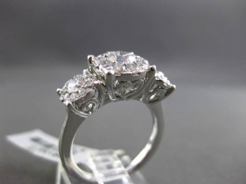 ANTIQUE LARGE 1.50CT DIAMOND 14KT WHITE GOLD CLUSTER FRIENDSHIP PROMISE RING