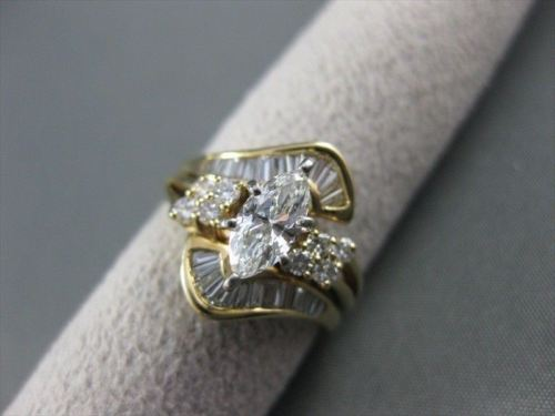 ESTATE MARQUISE DIAMOND 14KT W&Y GOLD ENGAGEMENT RING INSERT WEDDING BAND #21718