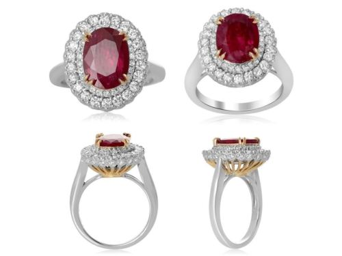GIA CERTIFIED 3.40CT DIAMOND & AAA RUBY 18KT 2 TONE GOLD OVAL HALO COCKTAIL RING
