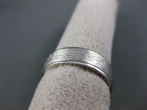 ESTATE WIDE 14KT WHITE GOLD SOLID STRIATED MATT MENS WEDDING RING BEAUTIFUL 1514