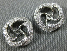 ESTATE .62CT DIAMOND 14KT WHITE GOLD 3D CLASSIC FLOWER JACKET EARRINGS