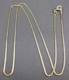 "ESTATE LONG 14KT YELLOW GOLD HANDCRAFTED ITALIAN HARRINGBONE 19.5"" CHAIN #25854"