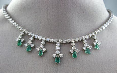 ESTATE LARGE 4.20CT DIAMOND & EMERALD 14KT WHITE GOLD FLOATING PRINCESS NECKLACE