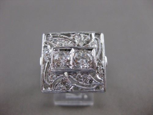 ANTIQUE 1.50CT OLD EURO DIAMOND 14K WHITE GOLD SQUARE DOUBLE COCKTAIL RING #2607