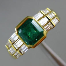 1.50CT DIAMOND & COLOMBIAN EMERALD 18K YELLOW GOLD 3D SEMI BEZEL ENGAGEMENT RING