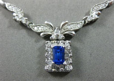 ESTATE 1.0CT DIAMOND & AAA SAPPHIRE 14KT WHITE GOLD HALO FLOWER SQUARE NECKLACE