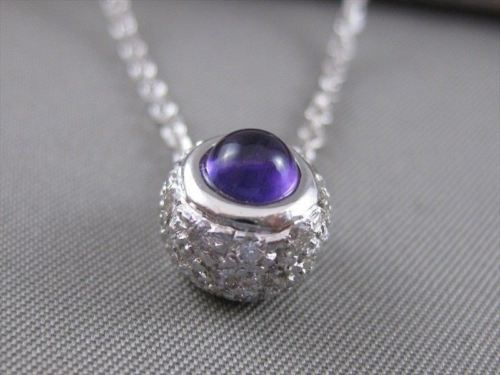 ESTATE 1.20CTW FLOATING DIAMOND AMETHYST 18K WHITE GOLD FILIGREE PENDANT #2490