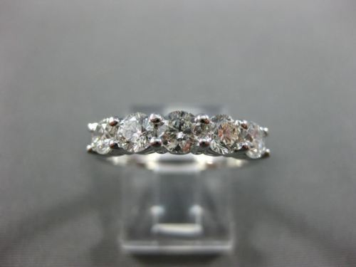 WIDE 1.25CT ROUND DIAMOND 14KT WHITE GOLD 3D 5 STONE WEDDING ANNIVERSARY RING