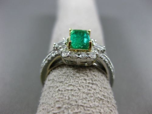 WIDE 1.35CT DIAMOND & AAA EMERALD 14K TWO TONE GOLD SQUARE HALO ENGAGEMENT RING