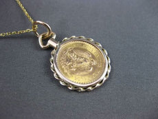 ESTATE 14KT & 22KT YELLOW GOLD HANDCRAFTED DOS Y MEDIO PESOS COIN PENDANT #24119