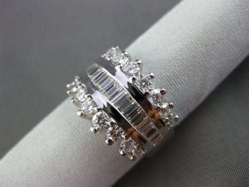 ESTATE WIDE BAGUETTE & ROUND DIAMOND 14KT WHITE GOLD ANNIVERSARY RING #11405