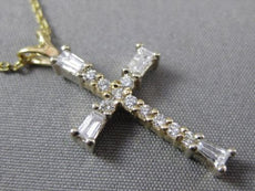 ESTATE .42CT BAGUETTE & ROUND DIAMOND 14K 2 TONE GOLD CROSS PENDANT W/ CHAIN 368