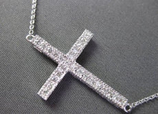 ESTATE .25CT DIAMOND 14KT WHITE GOLD FILIGREE & MILGRAIN CROSS NECKLACE AMAZING