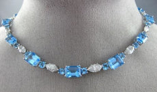 ESTATE LARGE 48.38CT DIAMOND & BLUE TOPAZ 14K WHITE GOLD 3D MULTI SHAPE NECKLACE
