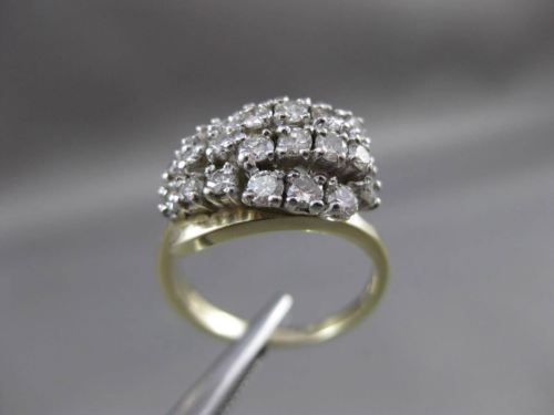 ESTATE .70CT DIAMOND 14KT WHITE & YELLOW GOLD CLUSTER COCKTAIL FUN RING #23746