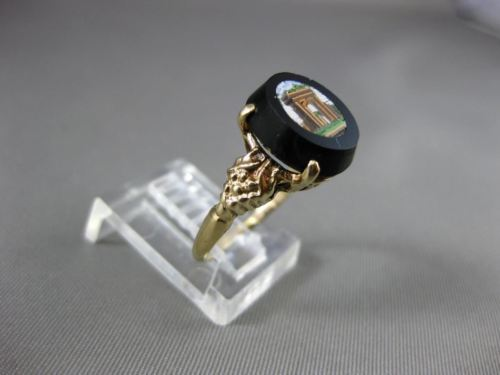 ANTIQUE 14KT YELLOW GOLD VICTORIAN MOSAIC ROMAN FILIGREE RING BEAUTIFUL! #24660