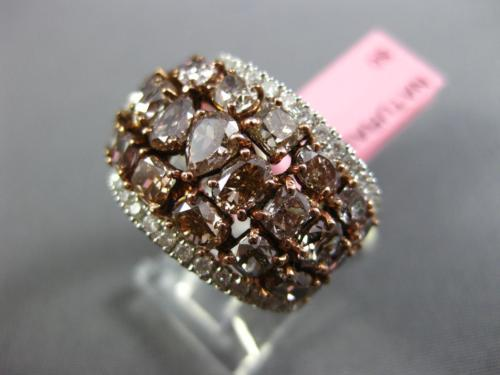LARGE 5.55CT WHITE & PINK DIAMOND 18K WHITE & ROSE GOLD WEDDING ANNIVERSARY RING