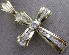 ESTATE LARGE 1.22CT DIAMOND 14K YELLOW GOLD CLASSIC CROSS FLOATING PENDANT 26143