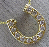 ESTATE .40CT DIAMOND 14KT YELLOW GOLD 3D CLASSIC LUCKY HORSE SHOE NECKLACE #1854