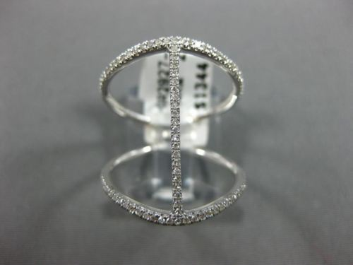 ESTATE WIDE .25CT ROUND DIAMOND 14KT WHITE GOLD 3D OPEN BAR FRIENDSHIP FUN RING