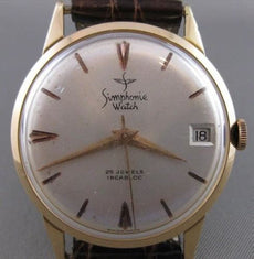 ANTIQUE SIMPHONIE 18K YELLOW GOLD LARGE ROUND SWISS MENS WATCH #2493