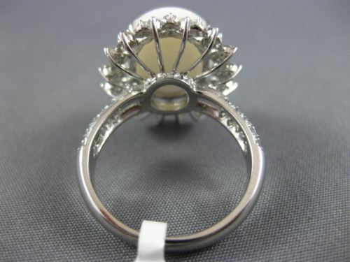 LARGE 5.39CT DIAMOND & AAA OVAL OPAL 14KT WHITE GOLD DOUBLE OPEN FILIGREE RING