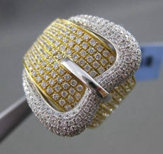 ESTATE MASSIVE 1.55CT DIAMOND 18KT WHITE & YELLOW GOLD PAVE BELT COCKTAIL RING