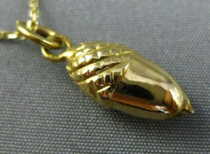 ESTATE 14KT YELLOW GOLD HANDCRAFTED ACORN FLOATING CHARM PENDANT & CHAIN #25106