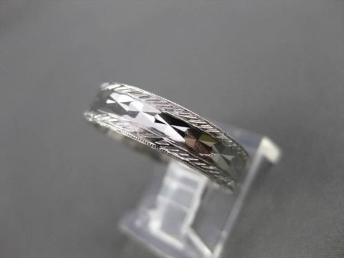 ANTIQUE 14K WHITE GOLD FILIGREE DIAMOND CUT ETERNITY WEDDING BAND RING 5mm 18937