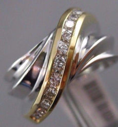 ESTATE .33CT DIAMOND 14K WHITE & YELLOW GOLD MULTI ROW CRISS CROSS INFINITY RING