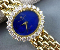 ESTATE LARGE BAUME & MERCIER 3.36CT DIAMOND & LAPIS 18KT YELLOW GOLD OVAL WATCH