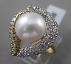 ESTATE 1.02CT DIAMOND 18KT TWO TONE GOLD AAA SOUTH SEA PEARL HEART SHAPE RING