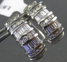 WIDE 2.89CT ROUND & BAGUETTE DIAMOND 18KT WHITE GOLD MULTI ROW CLIP ON EARRINGS