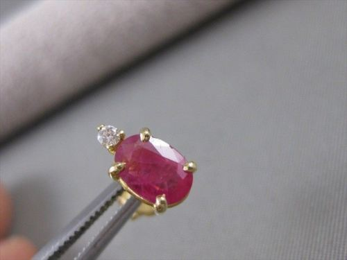 ANTIQUE 1.49CTW DIAMOND RUBY 14KT YELLOW GOLD OVAL STUD POST EARRINGS #4484