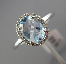 ESTATE 2.12CT DIAMOND & AAA BLUE TOPAZ 18K WHITE GOLD HALO HEART ENGAGEMENT RING