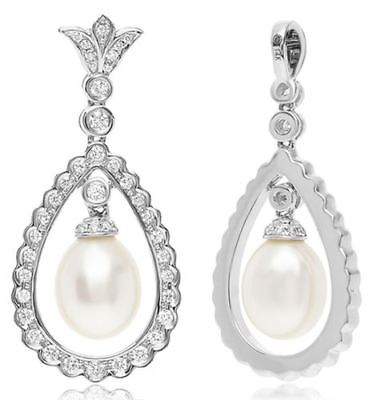 ESTATE .25CT DIAMOND & AAA SOUTH SEA PEARL 14KT WHITE GOLD 3D TEAR DROP PENDANT