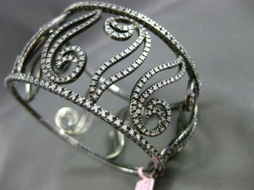 ESTATE WIDE 5.30CT DIAMOND 14K BLACK GOLD 3D FILIGREE MULTI LEAF BANGLE BRACELET