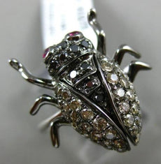 LARGE .77CT MULTI COLOR DIAMOND & AAA RUBY 18K WHITE & BLACK GOLD 3D BEETLE RING