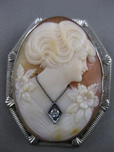 LARGE ANTIQUE HABILLE DIAMOND LADY FLOWER CAMEO PIN PENDANT 14K WHITE GOLD 21437
