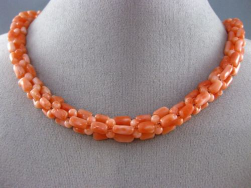 ANTIQUE LONG 925 SILVER GOLD PLATED CORAL HANDCRAFTED MULTI SHAPE NECKLACE 25358