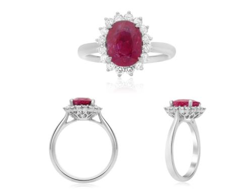 GIA CERTIFIED 2.68CT DIAMOND & AAA RUBY 18KT PLATINUM 3D CLASSIC ENGAGEMENT RING