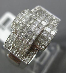ESTATE LARGE 1.50CT ROUND & PRINCESS DIAMOND 14KT WHITE GOLD INVISIBLE MENS RING
