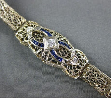 ANTIQUE WIDE & LONG .38CT OLD MINE DIAMOND & SAPPHIRE 14K WHITE GOLD 3D BRACELET