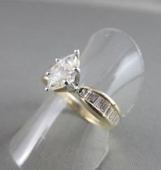 ESTATE 1.93CT MARQUISE BAGUETTE DIAMOND 14K WHITE & YELLOW GOLD ANNIVERSARY RING