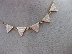 ESTATE .49CT DIAMOND 18KT ROSE GOLD 3D PAVE TRIANGULAR SPIKE FUN LOVE NECKLACE