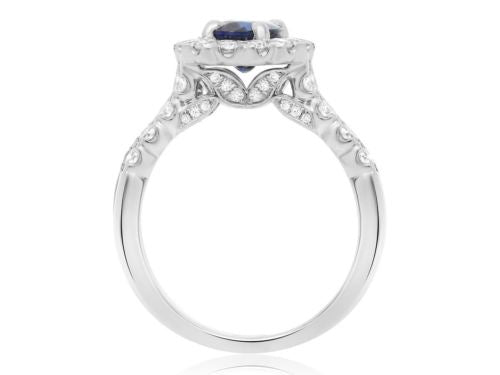 GIA CERTIFIED 2.19CT DIAMOND & AAA SAPPHIRE 18KT WHITE GOLD LEAF ENGAGEMENT RING